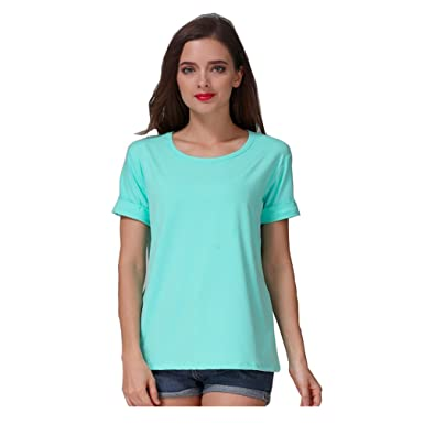 a2c6f80a83cde0 Women's Summer Pastel Green Mint Candy-colored Tops Tees at Amazon ...