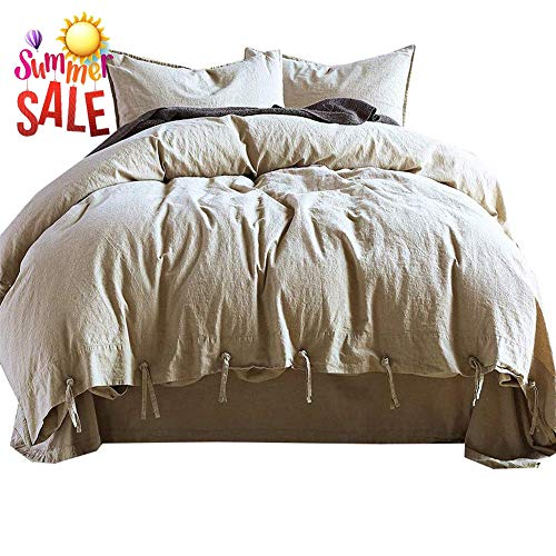 (Luxury Soft Solid Duvet Cover Set King Natural Linen Cotton Comforter Cover Set Hotel Quality Cool Soft Bedding Set Smooth Bamboo-Linen Cotton Duvet Quilt Cover Set 3 Piece Bedding Collection)