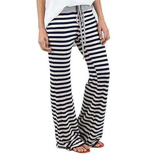 Women Pants,Haoricu Summer Women Stripe Prints Drawstring Wide Leg Pants Leggings
