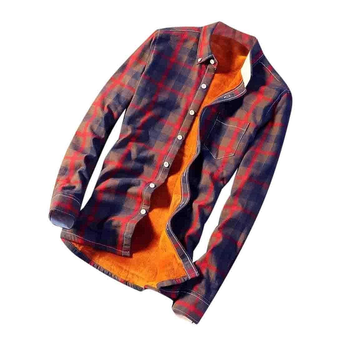 UUYUK Men Plaid Thickened Button Down Casual Fleece Shirts
