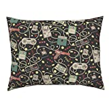 Roostery Technology Euro Knife Edge Pillow Sham Gadgets Geek Retro Outdated Technology Gaming Nerdy by Teja Jamilla 100% Cotton Sateen