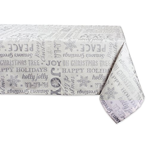 DII 100% Cotton, Machine Washable, Printed Metallic Holiday Tablecloth - 60x84 Seats 6 to 8 People, Sliver Christmas Collage