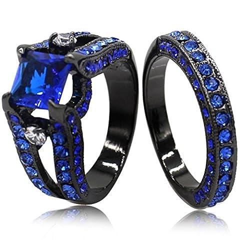 Black Blue Princess Cut Cubic Zirconia Wedding Ring Set (4) - 3 Stone Four Prong Ring