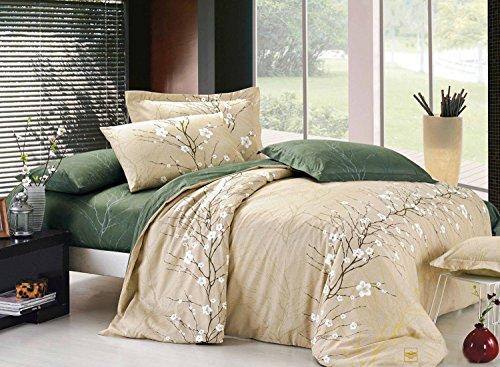 Asian Duvet Cover (Swanson Beddings Cherry Blossom 3-Piece 100% Cotton Bedding Set: Duvet Cover and Two Pillow Shams (Queen))
