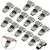 WMYCONGCONG 15 PCS Wire Connector 2 Pin 2 Way Low Voltage Universal Compact Wire T Tap Connectors No Wire-Stripping Required for 20/22 AWG Cable (T Type)