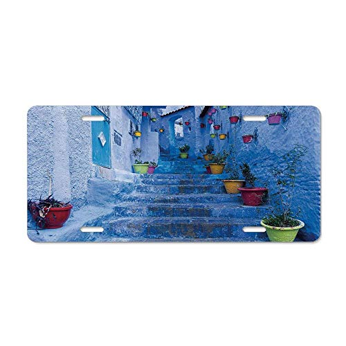 Blue,Street with Colorful Flower Pots in City of Chefchaouen in Morocco Travel Village,Multicolor Personalized Aluminum Metal License Plate Metal Auto Tag 12 x 6 in