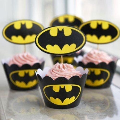 Batman Cupcakes y Envoltorios X 12- fiestas, diseño de cupcakes Mixedbagboutique