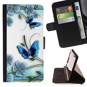 BullDog Case - FOR/Sony Xperia Z2 D6502 / - / butterfly white floral flower petal /- Monedero de cuero de la PU Llevar cubierta de la caja con el ID Credit Card Slots Flip funda de cuer