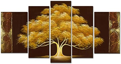 Wieco Art Golden Tree 5 Piece Abstract Floral Oil Paintings on Canvas Wall Art for Living Room Bedroom Home Decorations Modern 100 Hand Painted Gallery Wrapped Brown Contemporary Flowers Artwork