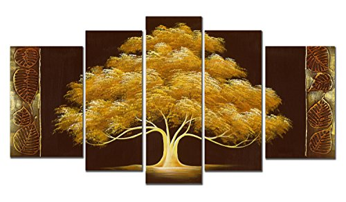 Wieco Art Golden Tree 5 Piece Abstract Floral Oil Paintings on Canvas Wall Art for Living Room Bedroom Home Decorations Modern 100% Hand Painted Gallery Wrapped Brown Contemporary Flowers Artwork (Tree Set Oil Painting)
