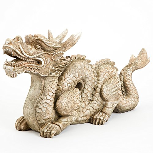 Bits and Pieces - Roderic the Dragon Garden Décor- Ornament Sculpture for Your Garden, Lawn or Patio - Polyresin Statue Perfect for Landscape Design