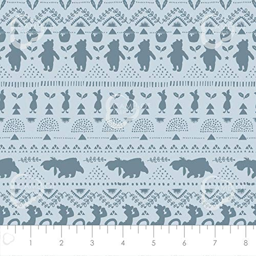 Disney Winnie The Pooh Wonder and Whimsy Silhouette Stripe in Light Blue Premium Quality Fabric by The Yard