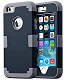 iPhone 5 Case,iPhone 5S Case, BENTOBEN Hard PC Shell and Soft Silicone Hybrid iPhone 5 Cases 3 in 1 Pieces Shockproof Anti-Scratch Combo Cover for iPhone 5 5S, Dark Blue+Dark Grey
