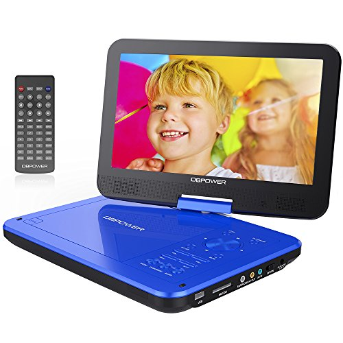 "DBPOWER 10.5"" Portable DVD Player with Rechargeable Battery, Swivel Screen, SD Card Slot and USB Port - Blue by..."