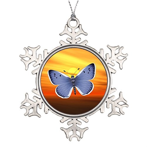 Metal Ornaments Bright Tree Branch Decoration Blue Pewter Christmas Snowflake Ornaments Butterfly -