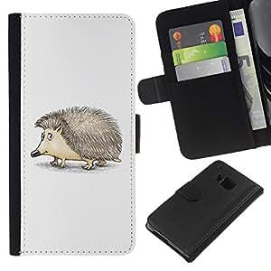 Planetar® Modelo colorido cuero carpeta tirón caso cubierta piel Holster Funda protección Para HTC One M9 ( Cute Friendly Hedgehog )