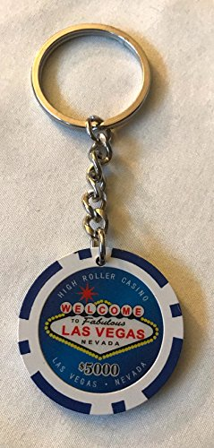 Las Vegas $5,000 Card Poker Chip Keychain Keyring You pick Color and Style (Blue-style2)