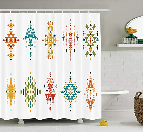 Ambesonne Tribal Decor Shower Curtain by, Abstract Aztec Style Colorful Ethnic Design Vintage Illustration, Fabric Bathroom Decor Set with Hooks, 70 Inches, Petrol Blue Apricot
