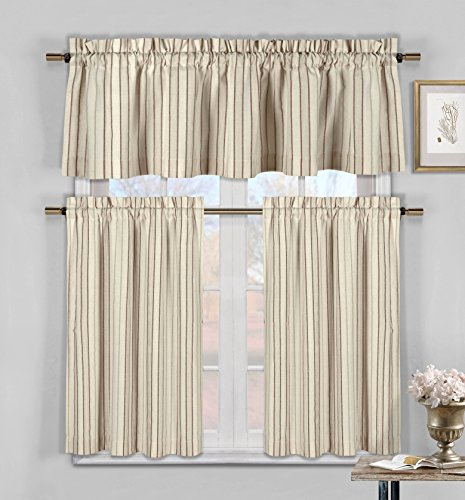 Cheap Three Piece Cotton Rich Kitchen/Cafe Tier Window Curtain Set: Striped pattern, One Valance, two Tiers (Burgundy, Taupe and Beige)