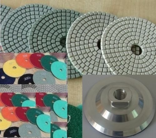 4 Inch 4'' Diamond Polishing Pad 11 PIECES + Aluminum Backer GRANITE Stone Marble Concrete toolsmart best value