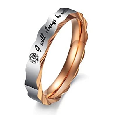 women size 5 konov stainless steel love i will always be with you couples - Wedding Rings Amazon