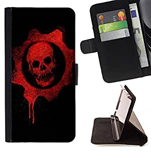King Air - Premium PU Leather Wallet Case with Card Slots, Cash Compartment and Detachable Wrist Strap FOR Sony Xperia Z1 C6902 C6903 C6906- Skull Devil Pattern Sugar Skull Skulls