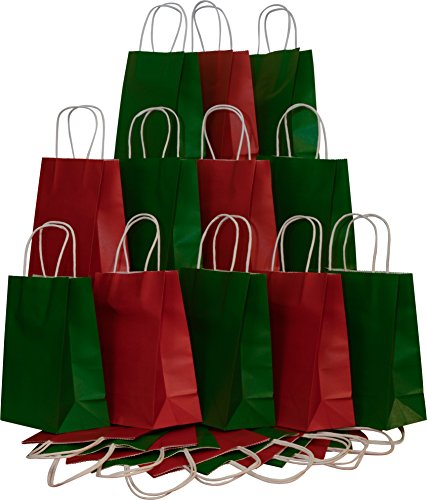 Christmas Gift bags, Red & Green Kraft with white twine handles, 12 of each color, set of 24 (Christmas Red Green)