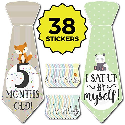 38 Baby Milestone 'First Year' Necktie Stickers – Best baby shower gift for newborn baby boys & girls – Onesie Ties for monthly age markers & special moments – Original Sticker Set from Cozy Hedgehog