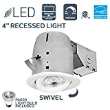 Nadair 4in LED Recessed Lighting Swivel Spotlight Dimmable Downlight - IC Rated - 3000K Warm White PAR20 630 Lumens Bulbs (50 Watts Equivalent) Included - White Color - PR378L-SWWH