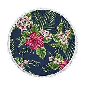 XIAOBAOZISTJ Toalla Redonda De Playa Tapicería Plantas Y Flores Estampado De Franjas Gruesa Y Suave Manta De Picnic… | DeHippies.com