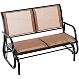 Outsunny Outdoor Steel Sling Fabric Glider Double Swing Chair - Brown