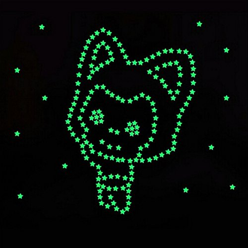 Glow Stars For Ceiling: Fecedy Blue 300pcs Plastic 3D Stars Glow In The Dark