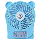 Cute Bear Mini Rechargeable Desktop USB Fan with 3 Adjustable Speed Portable for Travel Camping Hiking Fishing