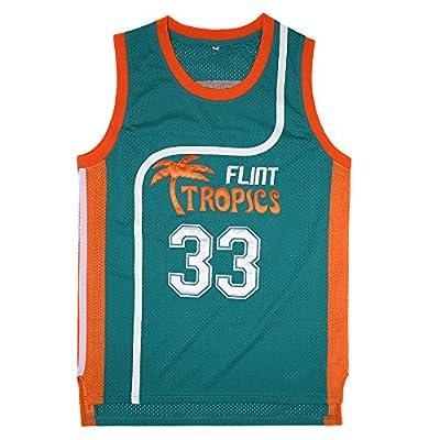 TUEIKGU Mens 33 Flint Tropics Jackie Moon Semi Pro Basketball Jersey S-XXL Green