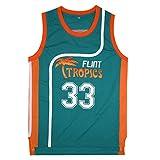 AMISHU Mens 33 Flint Tropics Jackie Moon Semi Pro Basketball Jersey S-XXL (Large, Green)