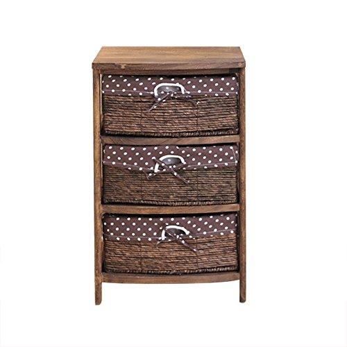 QRFDIAN Solid Wood Bedside Table ▏ Pastoral Rattan Storage Cabinet ▏ Simple Storage Locker ▏ Bedroom Side Cabinet ▏ Floor Cabinet Bedside Cabinet Table (Color : C) (Table Rattan Classic Bedside)