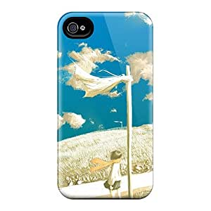 Fashion Tpu Case For Iphone 4/4s- Anime Girl In The Wind Defender Case Cover by runtopwell