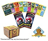 Pokemon 100 Card Lot with 2 Detective Pikachu Sealed Packs in Every Bundle! Includes Golden Groundhog Treasure Chest Storage Box!