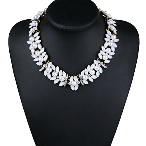 [Sweetime Fashion Handmade Crystal Pearl Collar Statement Necklace for Women (White)] (Pilgrim Costumes Ideas)