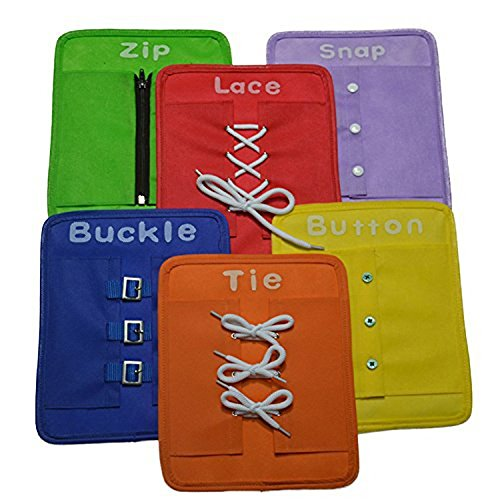 Early Learning Basic Life Skills Learn to Dress Boards – Zip, Snap, Button, Buckle, Lace & Tie 6 pcs/set