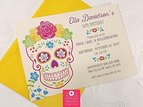 (Birthday Floral Garden Fiesta Sugar Skull Invitations, Set of 10 Folk Day of the Dead)