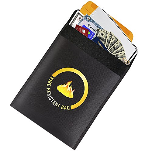 "Fireproof Document Bag 15 x 11"" for Money, Documents, Jewelry and More + FREE Waterproof Phone Pouch with EVERY purchase"