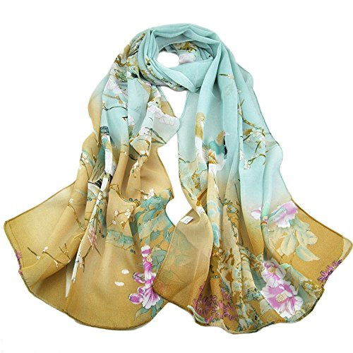 Scarves,Han Shi Women Chiffon Soft Neck Voile Wrap Scarf Stole Shawl Wraps Cover Up (L, Green)