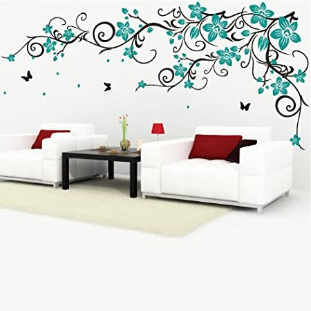 Decomatters butterfly vine flower wall stickers black vines and teal flowers large