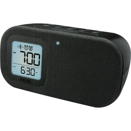 iHome All in One Bluetooth Wireless Dual Alarm Clock Radio with Large Easy to Read Backlit LCD Display