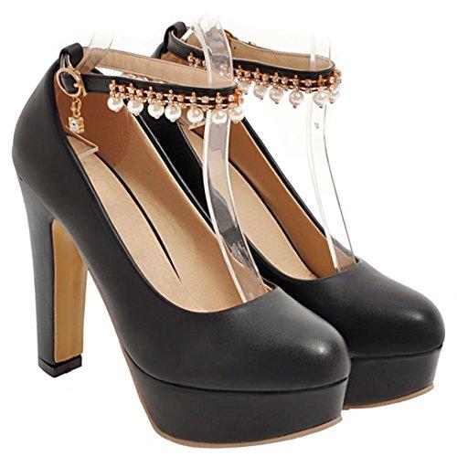 AIYOUMEI Damen Knöchelriemchen Plateau Pumps mit Perlen und Strass High Heels Abend Schuhe schwarz(PU)