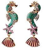 Extra Large Bold Statement Blue Seahorse Sea Horse Earrings Stud Starfish Sea Shell Accent