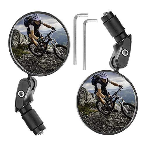 EUNEWR 2 stuks fietsspiegels, universeel, verstelbaar, 360° groothoek, voor 17,4-22 mm vlakke fietsstuur, voor kinderen…