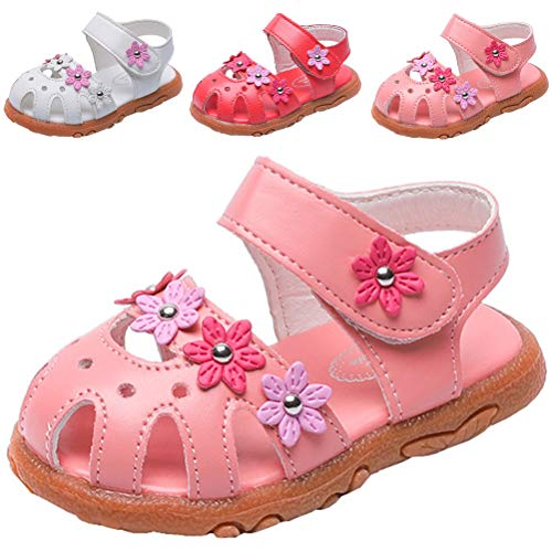 DADAWEN Girl's Summer Closed-Toe Solid Flower Outdoor Casual Sandals (Toddler/Little Kid) Pink US Size 6 M Toddler