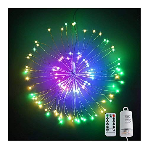 Elitlife Firework Light, Battery Operated Hanging Starburst Light 120 LED Bouquet Shape Lights,Fireworks Copper String Lights 8 Modes Dimmable with Remote Control for Outdoor Home Patio(Muli Color)